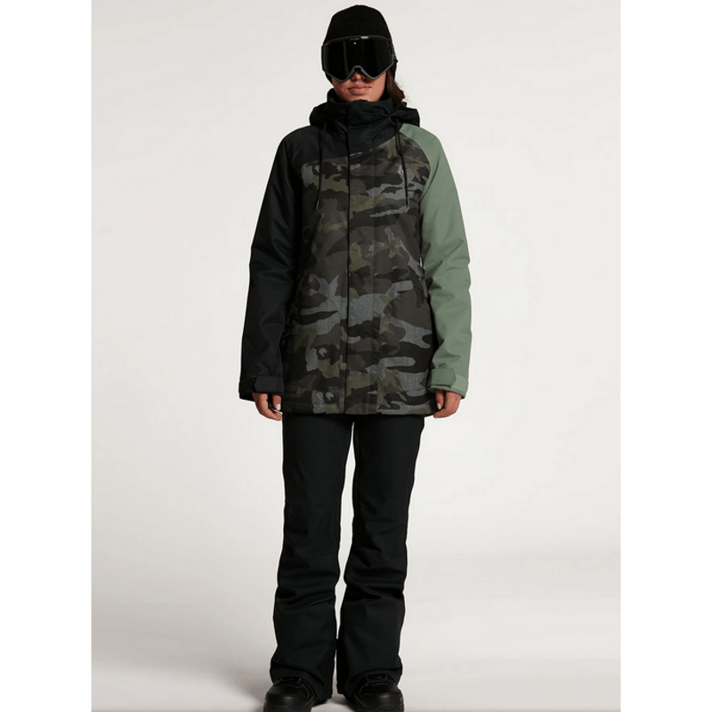 snow jacket volcom westland colorblock womens camo and green