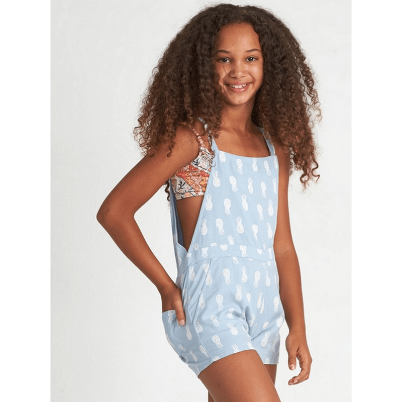 billabong girls blue overall short