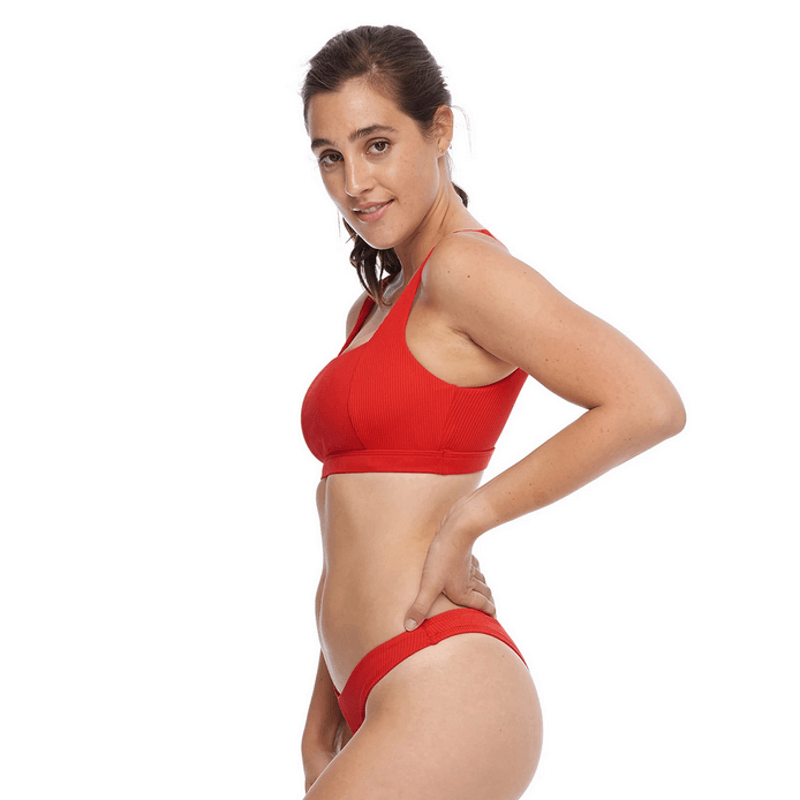 body glove wide band red swim top