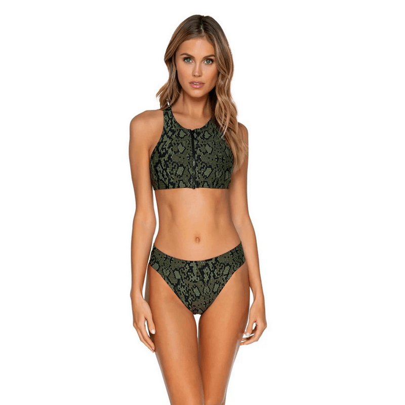 zipper front black and green swim top sunsets