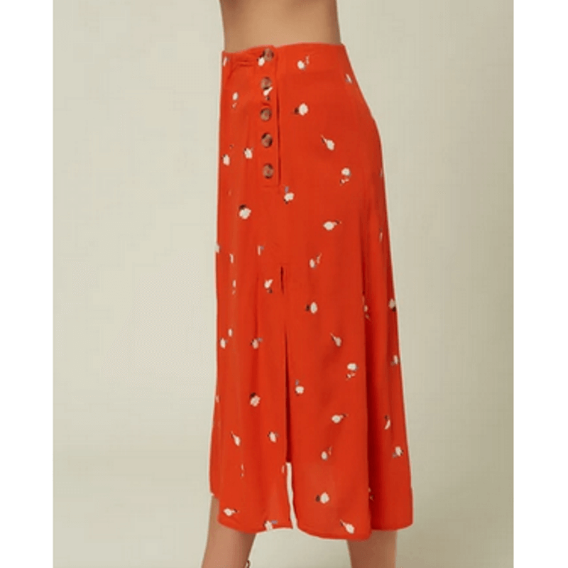 oneill skirt red print with button down left side