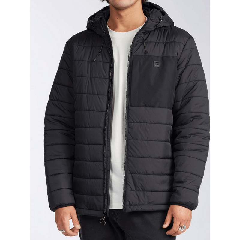 mens black billabong puffer jacket with full zip