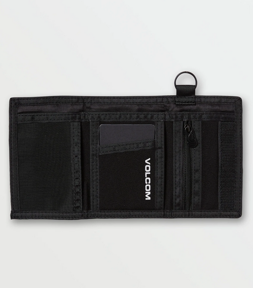 volcom wallet black with key loop and zipper coin pocket