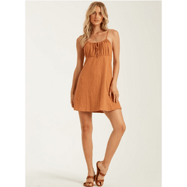 billabong bronze mini dress womens with gatherd bodice