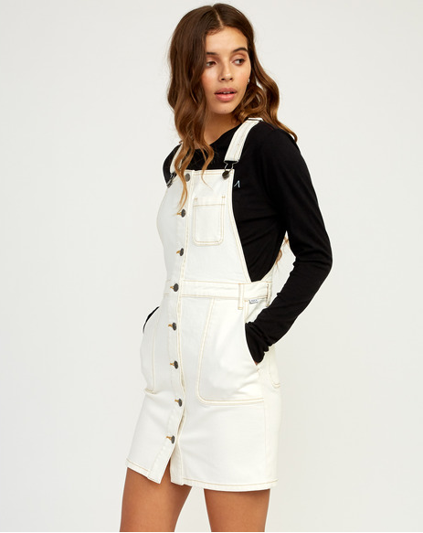 RVCA Conquer Womens White Denim Overall Dress
