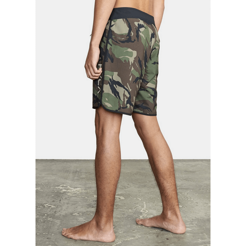 eastern rvca green camo mens boardshorts with black waist band