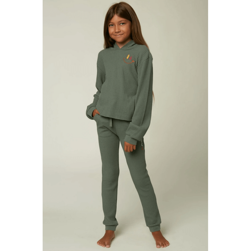 o'neill thermal top girls green with embrodery at left chest
