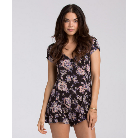 Billabong Festival Frenzy Womens Off Black Romper
