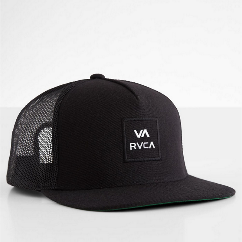rvca mens black trucker with front patch