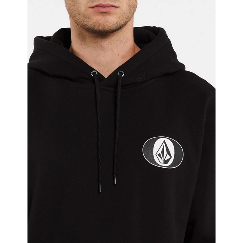 black mens volcom hoodie with logo on left front chest