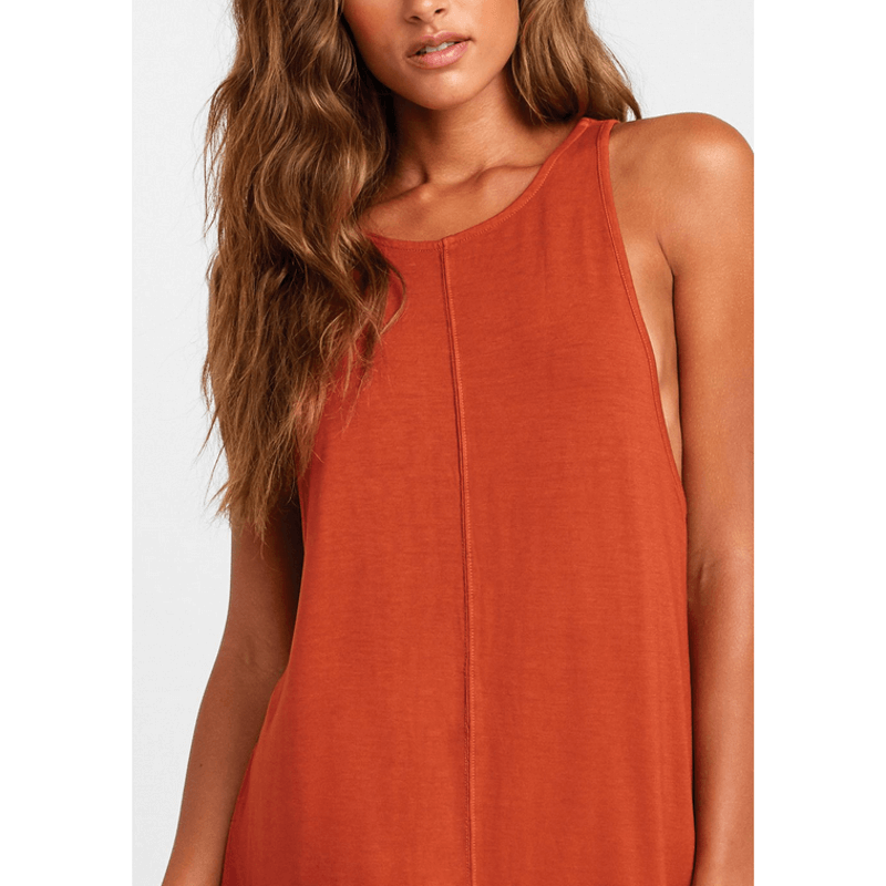 rvca mini dress with seam down front and higher neck