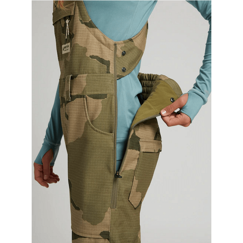 avalon burton womens camo bib with drop seat