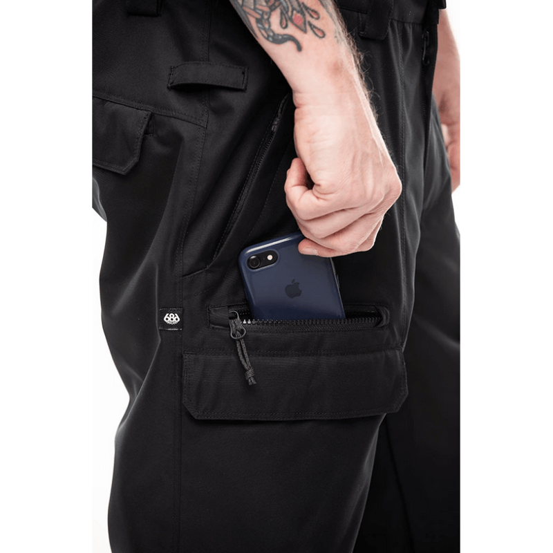 phone pocket zippered mens 686 black vice snow pant