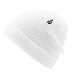 volcom white beanie with stone embroidery