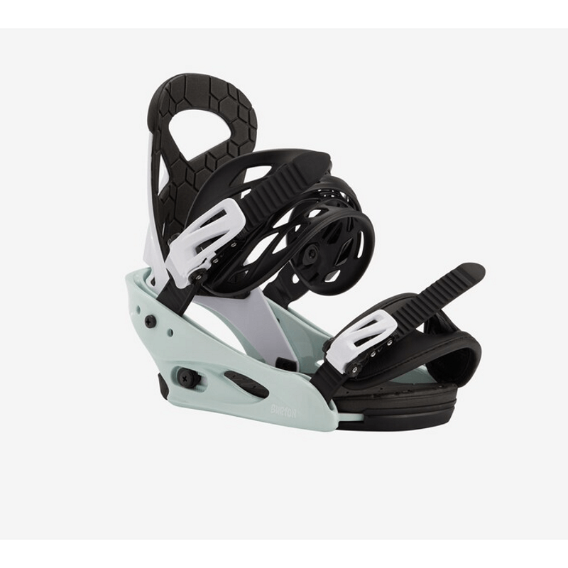 burton kids snowboard bindings black and mint