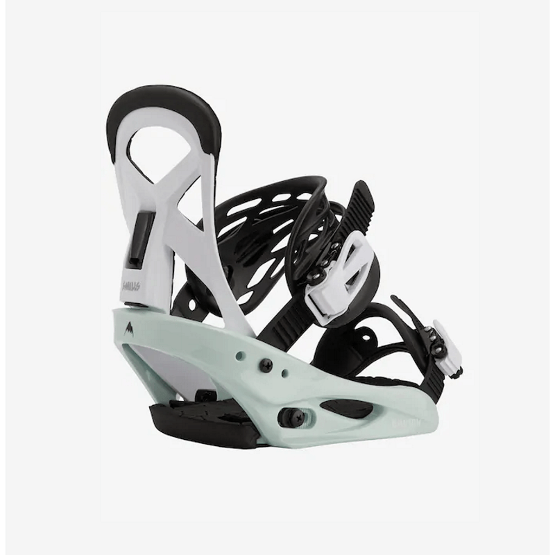 burton kids snowboard bindings white black and mint