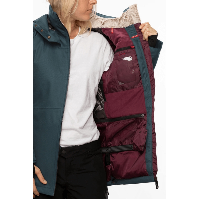 inner pockets and powder skirt 686 seon spruce snow jacket