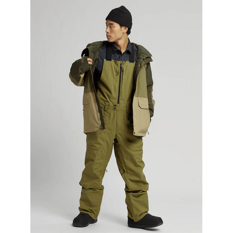 snow bibs green burton front zip