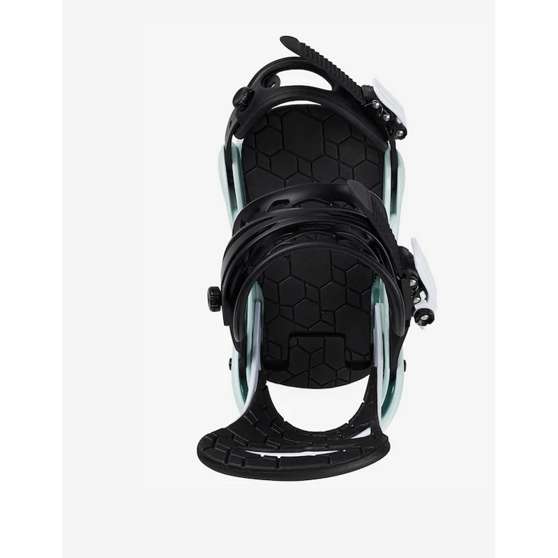 kids black white and mint snowboard bindings