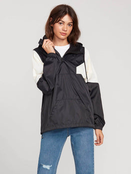 Volcom Wind Stoned Womens Black & White Windbreaker Jacket