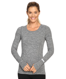 Terramar Cloud Nine Womens Grey Melange Scoop Neck Base Layer