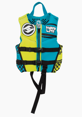 Hyperlite Indy Child Boys Neoprene Yellow Blue Wakeboard Vest