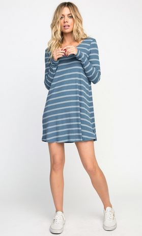 RVCA Time Table Womens Blue Moon Swing Dress