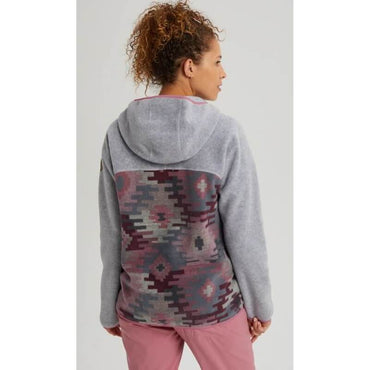 Burton Hearth Full Snap Womens Grey Heather Fleece