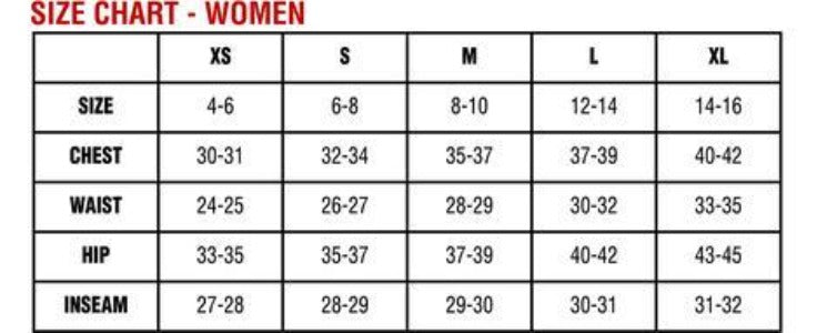 Hot Chillys Womens Size Chart