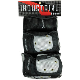 Industrial 3 Pack Black White Youth Skateboard Pad Set