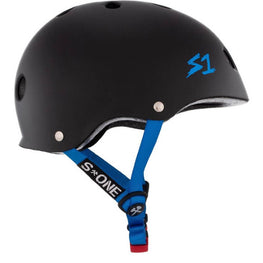 S One Mini Lifer Matte Black With Cyan Straps Skateboard Helmet