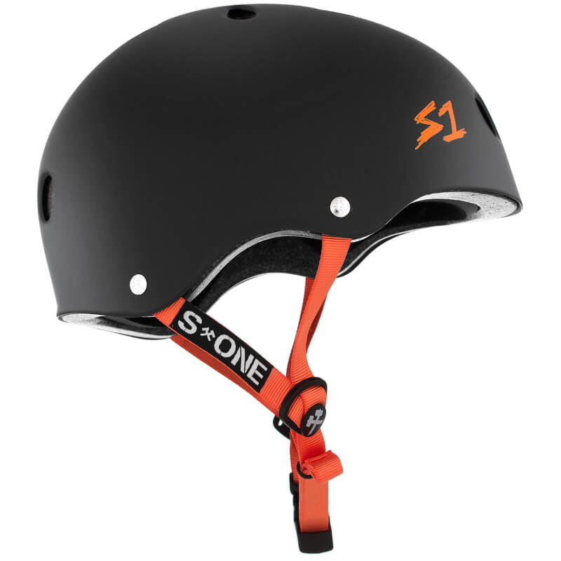 S One Lifer Matte Black With Orange Straps Skateboard Helmet