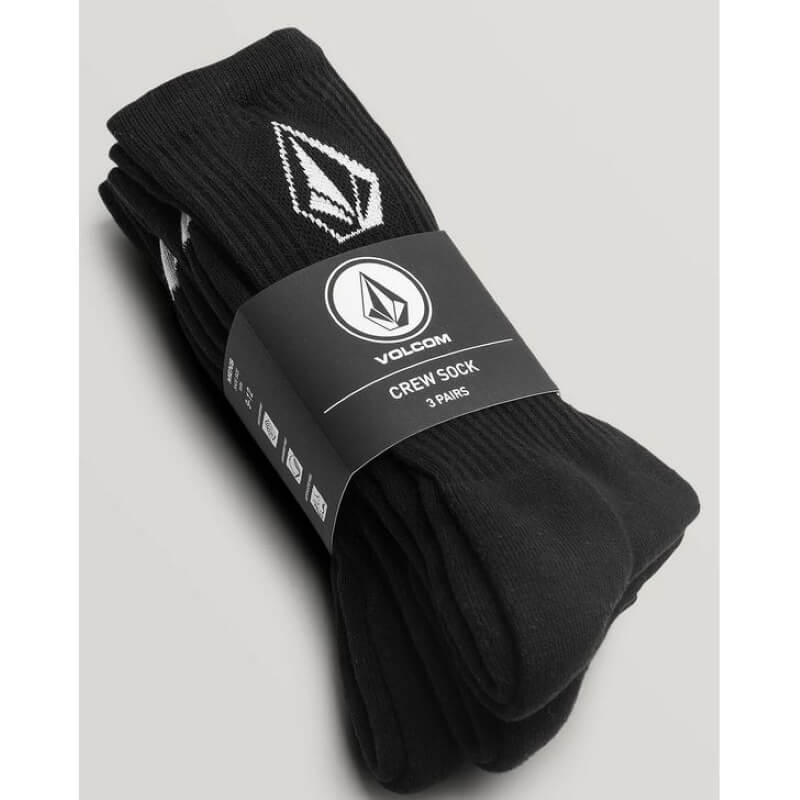 Volcom Stone Mens Black Socks 3 Pack