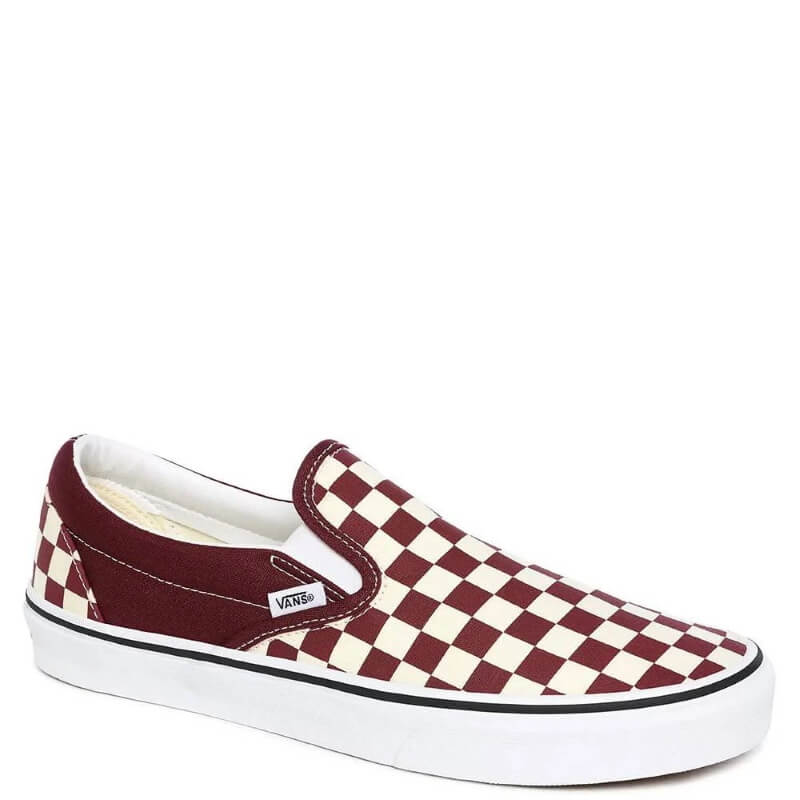 Vans Classic Slip On Port Royal/True White Checkerboard Skate Shoes