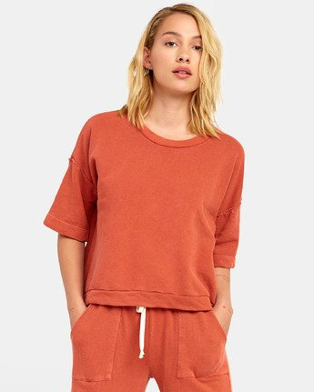 RVCA Vegas Womens Orange Hot Coral Pullover Top