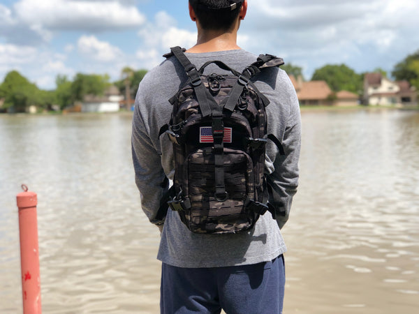 Laser Cut Assault Backpack w/ Removable Patch - Black Camo