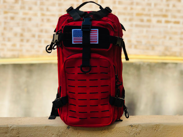 Laser Cut Assault Backpack w/ Removable Patch - Red