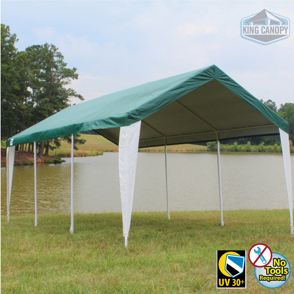 Universal 8 Leg Canopy 10 ft X 20  With Green and White Cover