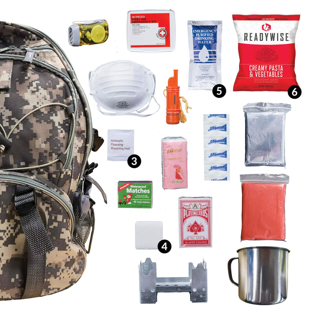 Camo 64 Piece Camping Supply Backpack