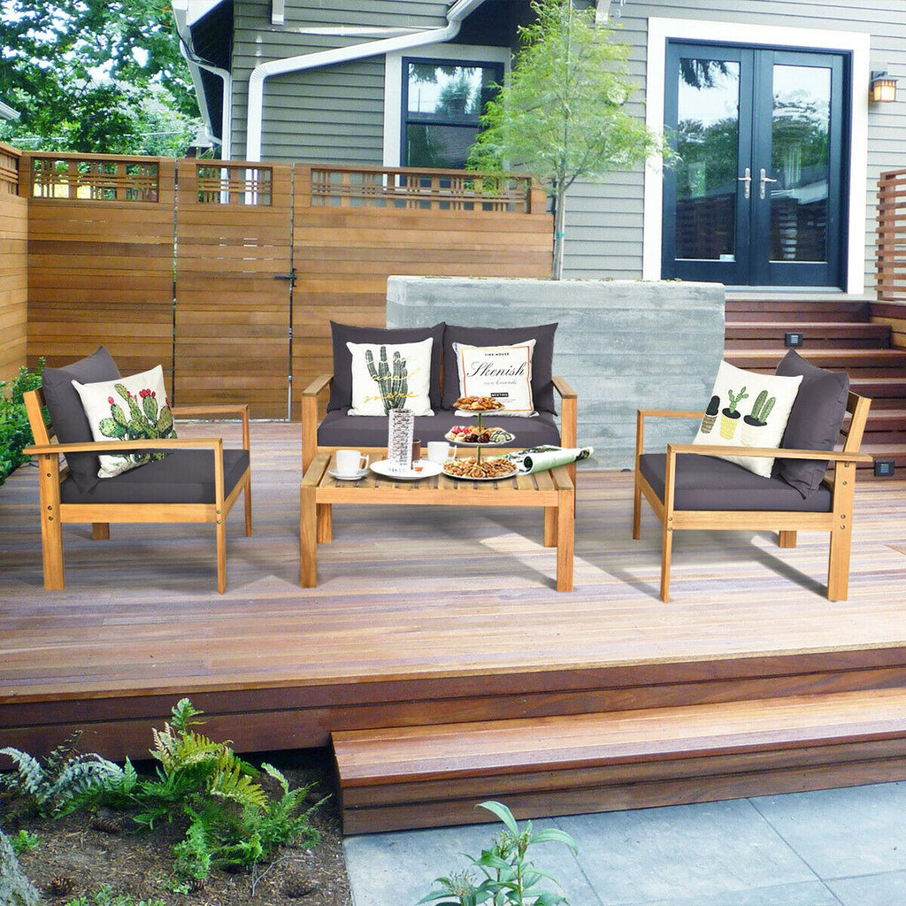 Outdoor 4PCS Acacia Wood Chat Set