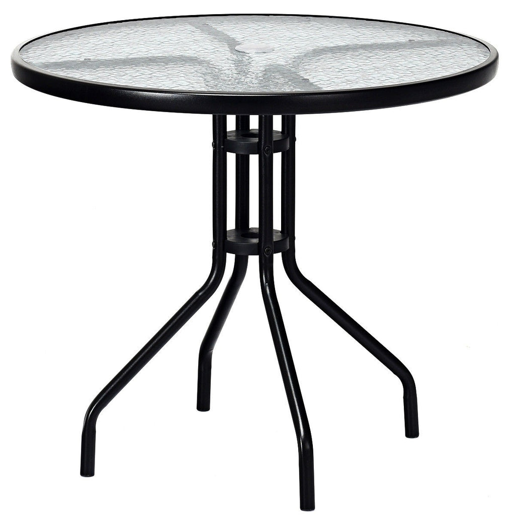 "Patio Table with 32"" Round Glass Top And Umbrella Hole"