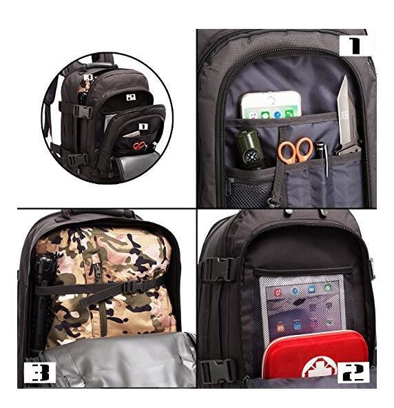3 Day Expandable Backpack - Black