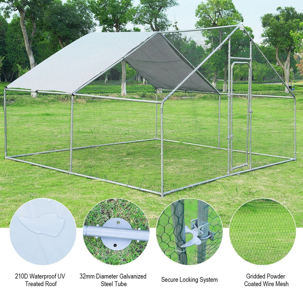 Animal Kennel With Roof Cover 13' x 13' x 6.5'