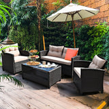 Furniture Set Table with Shelf 4 Pcs Outdoor Rattan Armrest