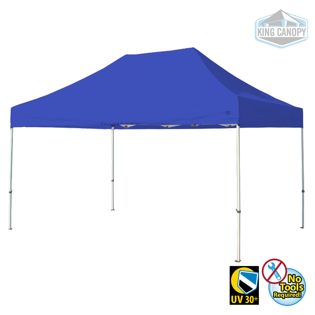 Tuff Tent Pop-up Canopy White Frame Blue Top Measures 10 ft X 15 ft