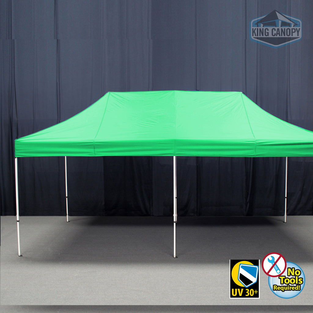 Tuff Tent Pop-up Canopy | White Frame Green Top | Meas 10 ft X 20 ft