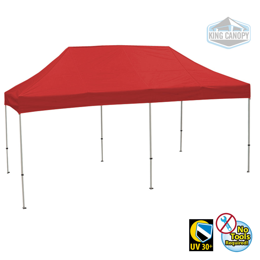 Tuff Tent Pop-up Canopy | White Frame Red Top | Meas. 10 ft X 20 ft