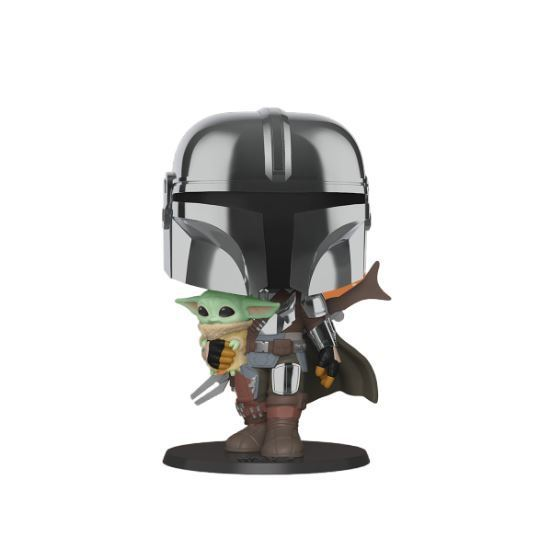 Funko POP! Star Wars: The Mandalorian with The Child(Chrome)(10 inch)