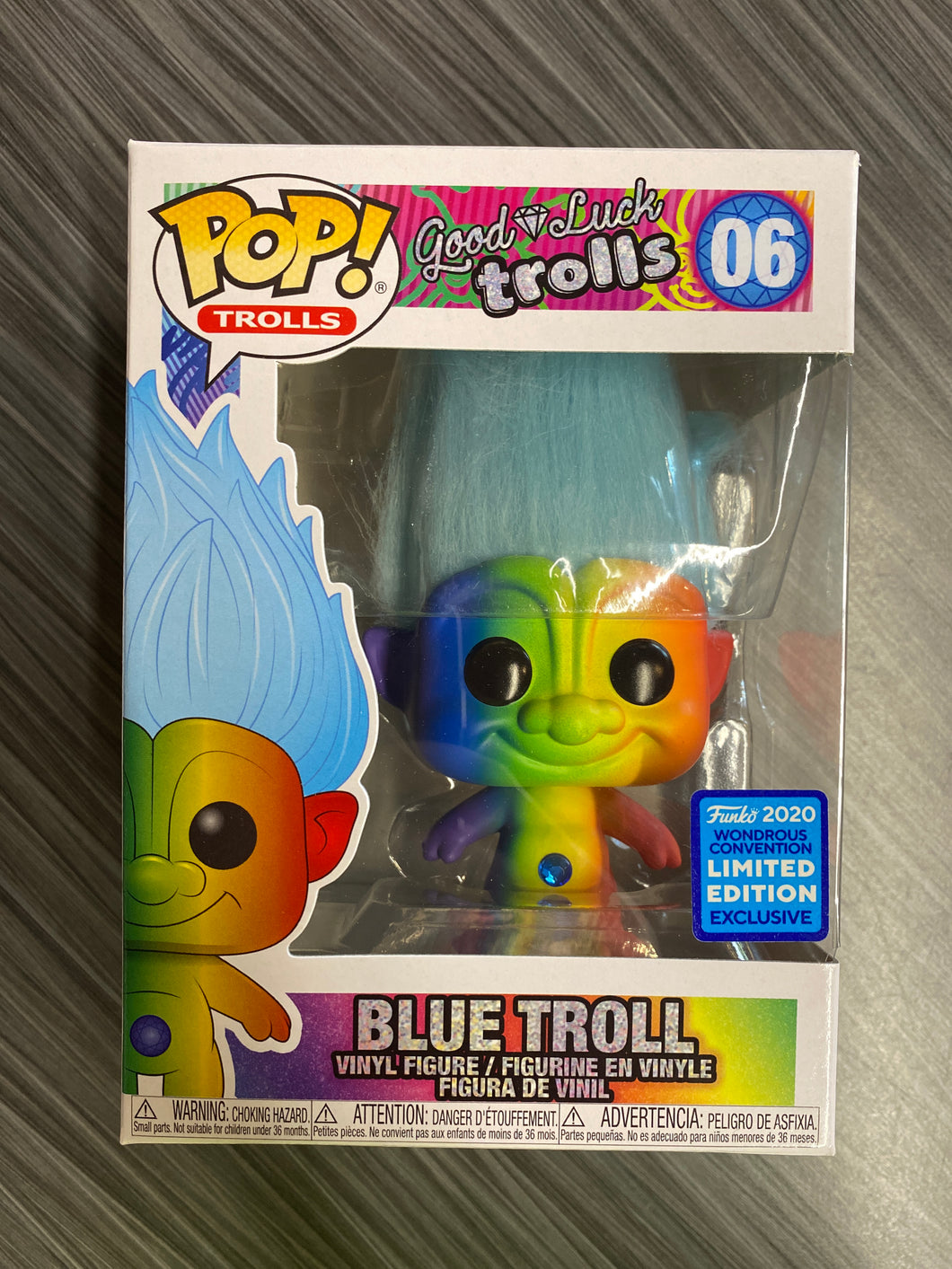 Funko POP! Trolls: Good Luck Trolls - Blue Troll (2020 Wondrous Convention Exclusive)