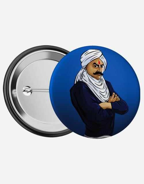 Bharathiyar Pin Badge - Angi | Tamil T-shirt | Chennai T-shirt